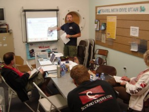 open water scuba instructor candidate practicing knowledge development presentation